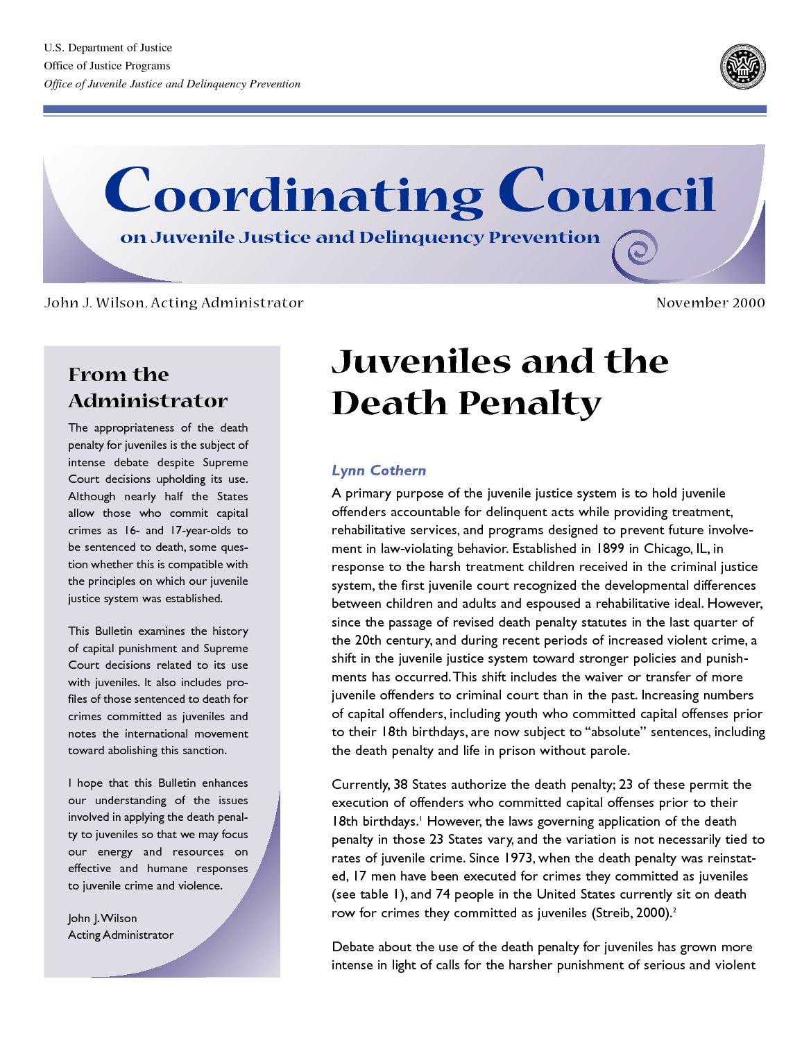 an argument in favor of tougher penalties for juvenile crimes The united states supreme court prohibits execution for crimes committed at the four of whom have called the juvenile death penalty 'inconsistent with evolving.