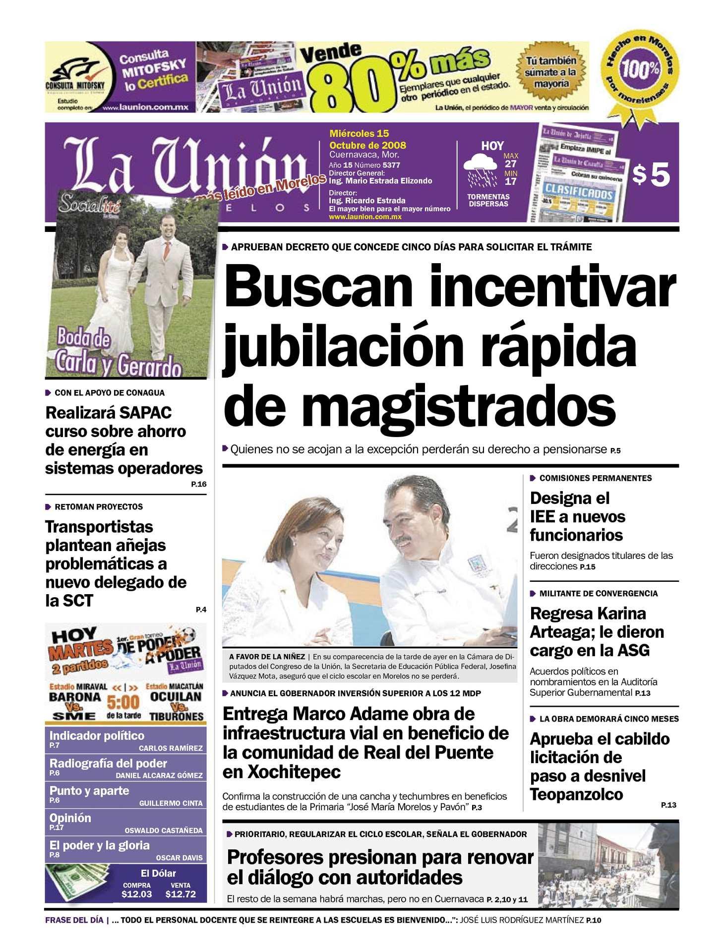 Calaméo - La Unión de Morelos 15 Octubre 2008