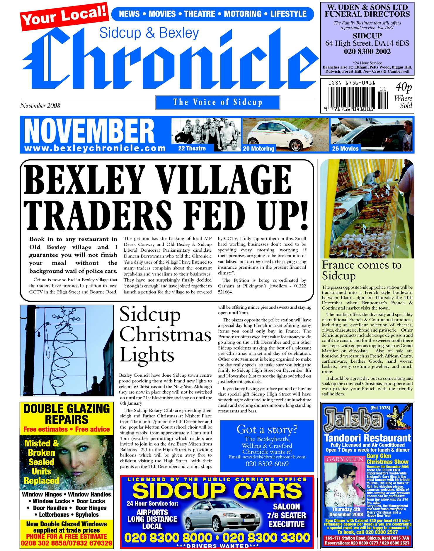 Calamo The Sidcup Bexley Chronicle November 2008 Stiker Cctv Anti Dept Colector New