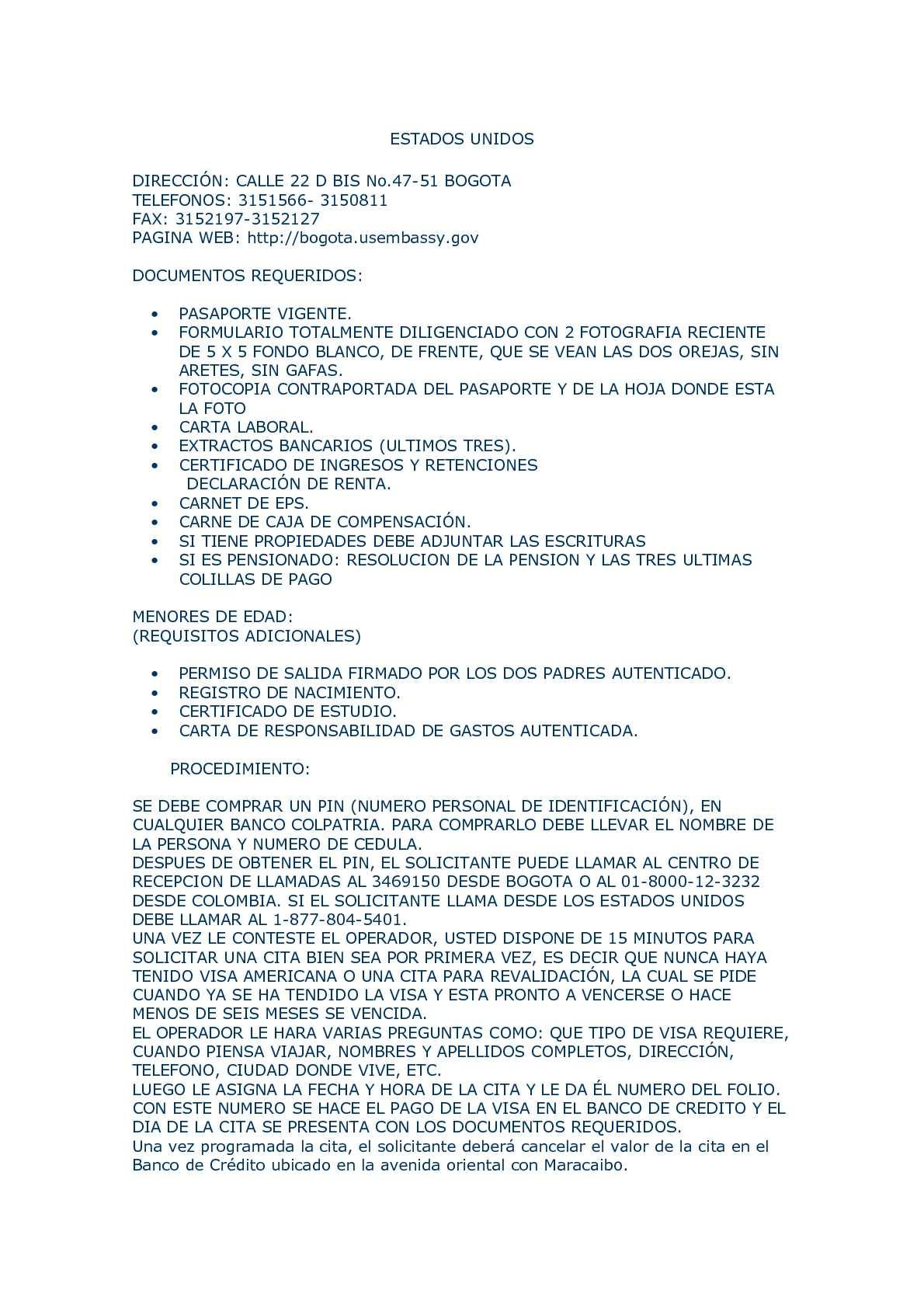 Calaméo - Requisitos visas para Colombianos