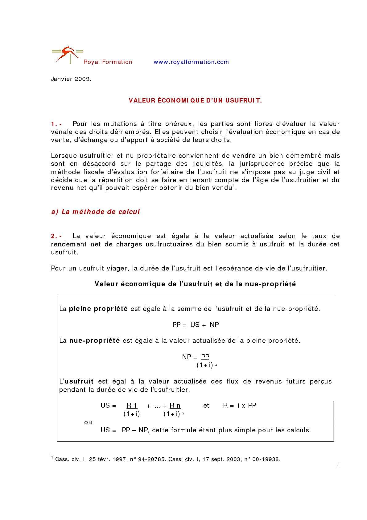 Calameo Valeur Economique Usufruit Et Nue Propriete