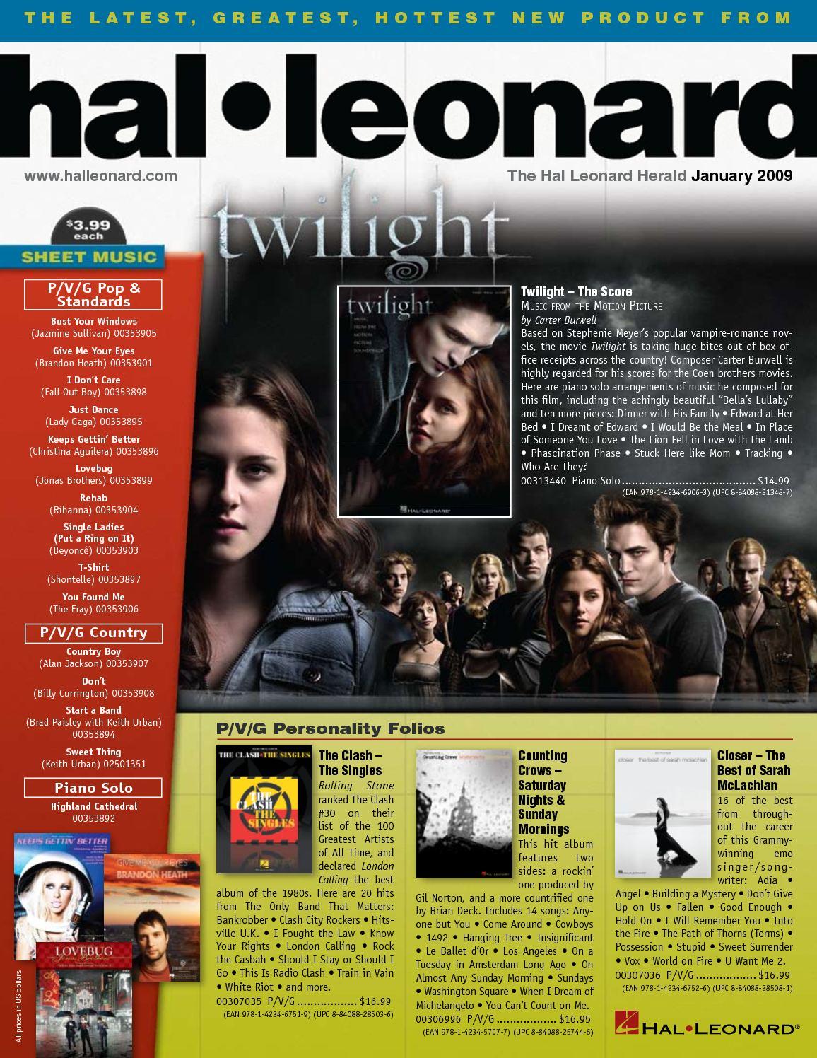 Calamo Hal Leonard Boletin Enero 2009