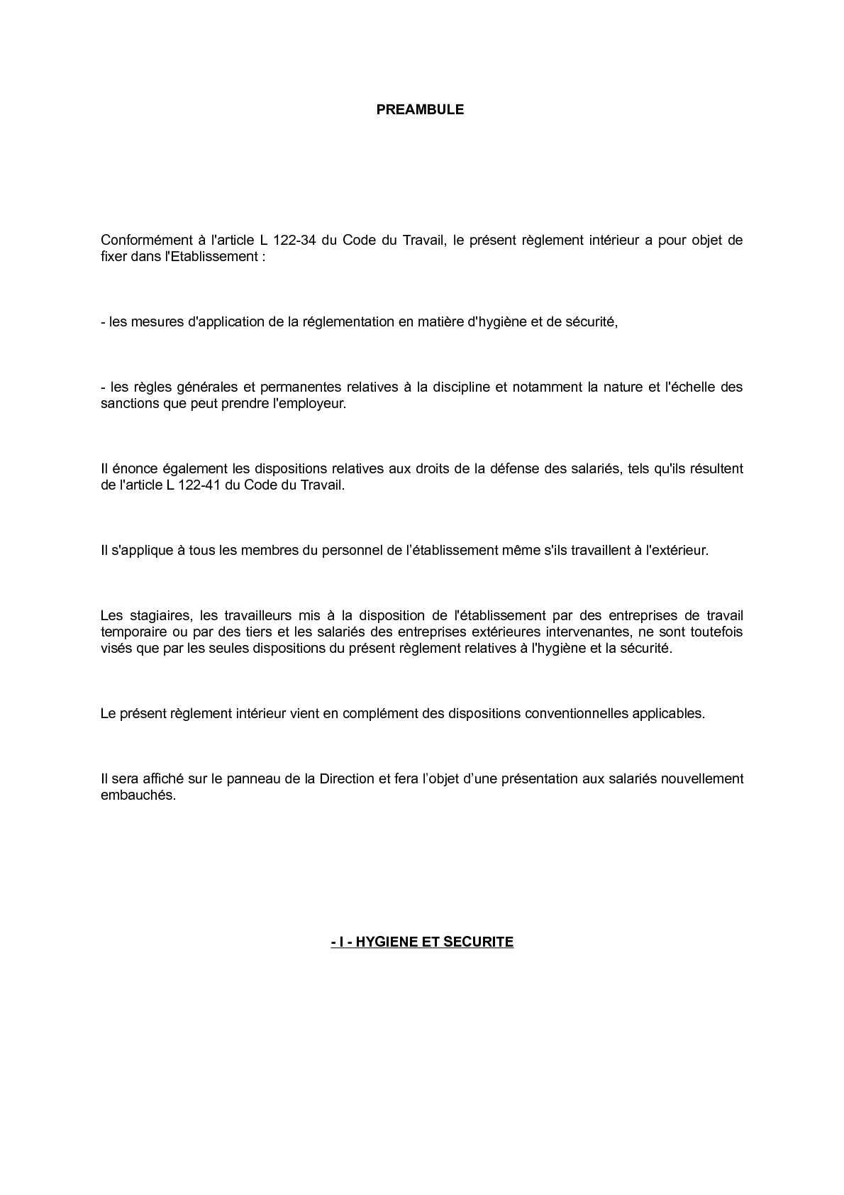Réglement intérieur Carrefour