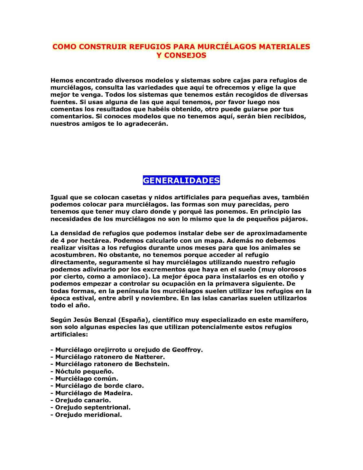 CÓMO CONSTRUIR REFUGIOS PARA MURCIÉLAGOS MATERIALES Y CONSEJOS