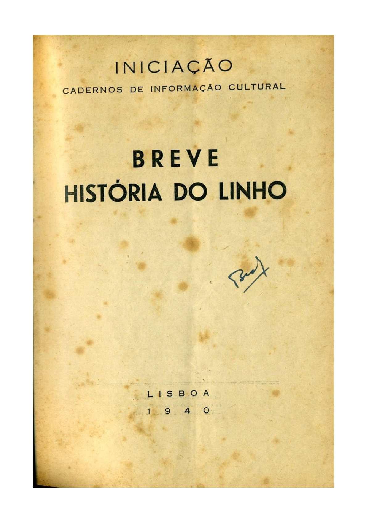BREVE HISTÓRIA DO LINHO