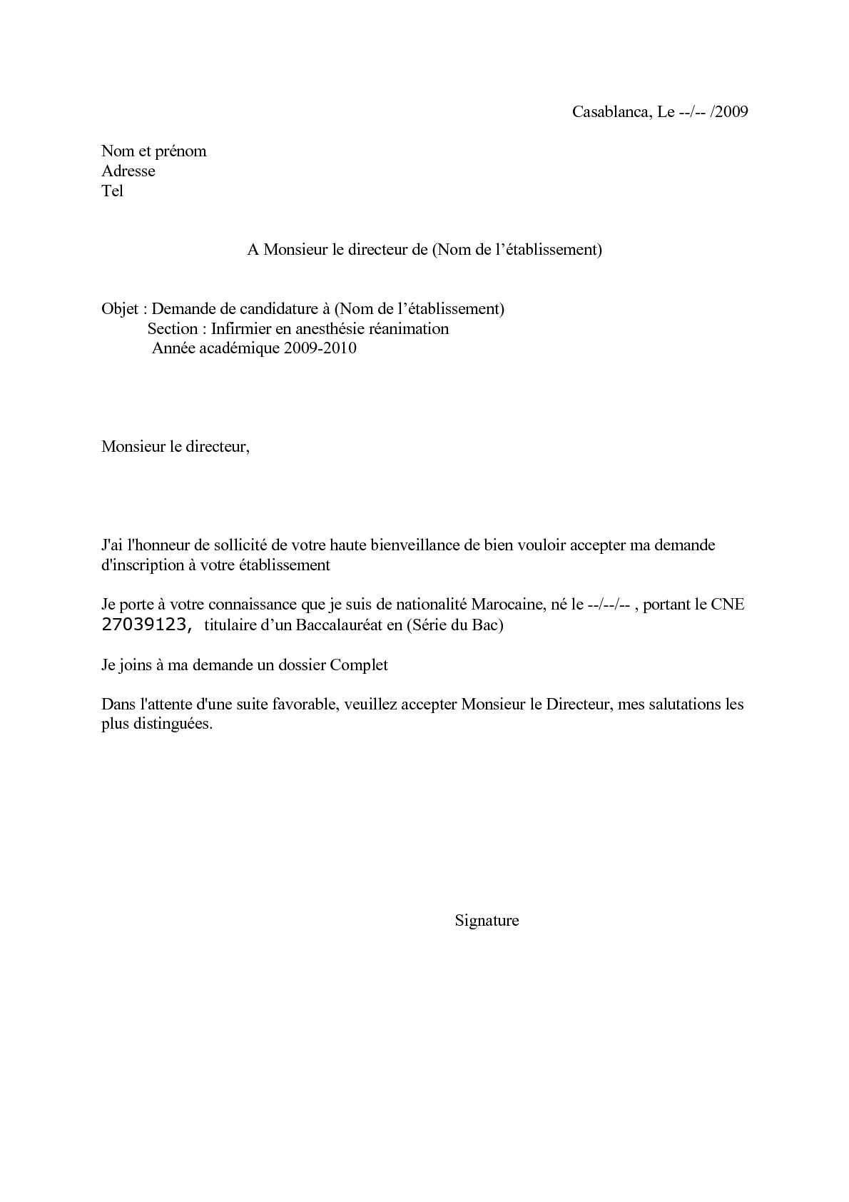 Demande de candidature Manuscrite