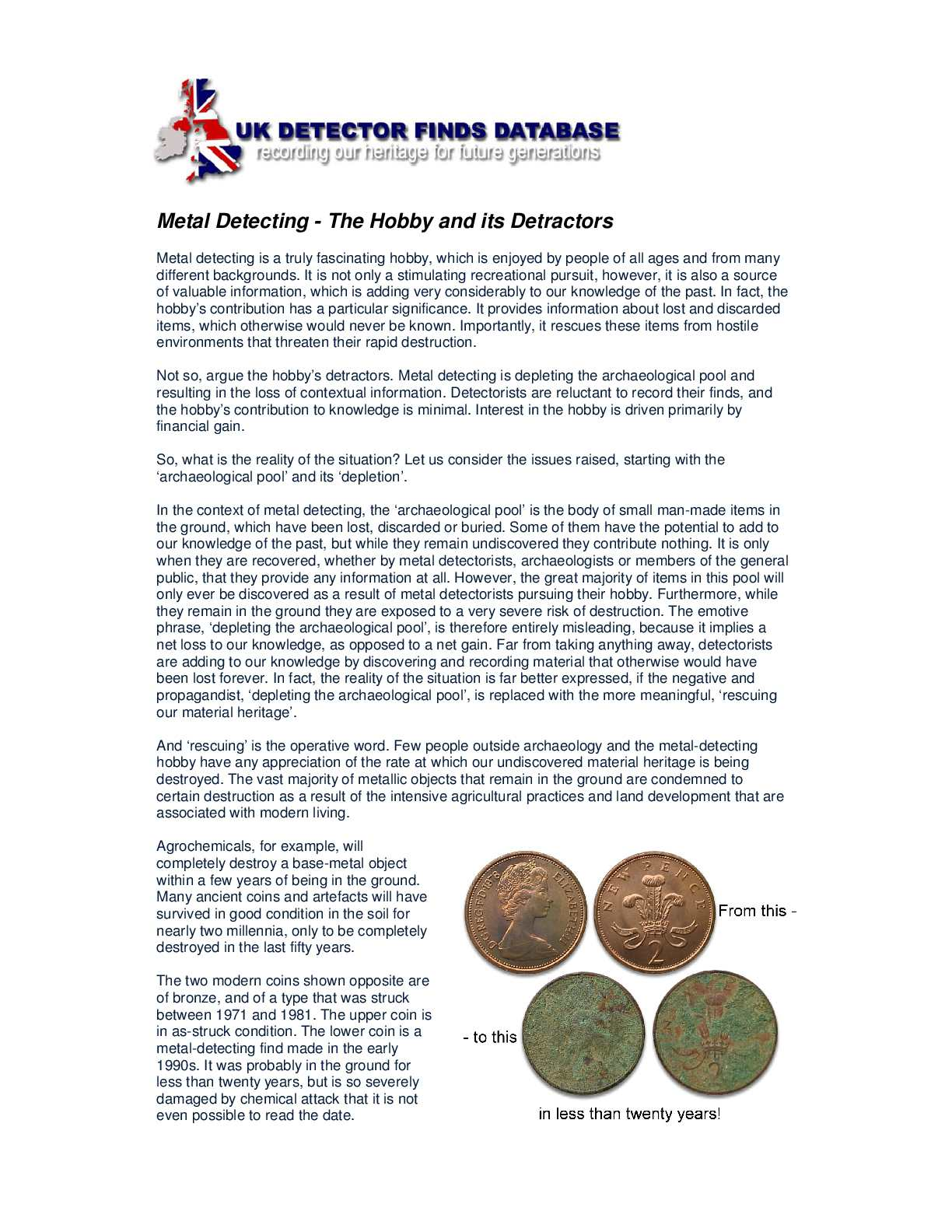 Metal Detecting - The Hobby and its Detractors