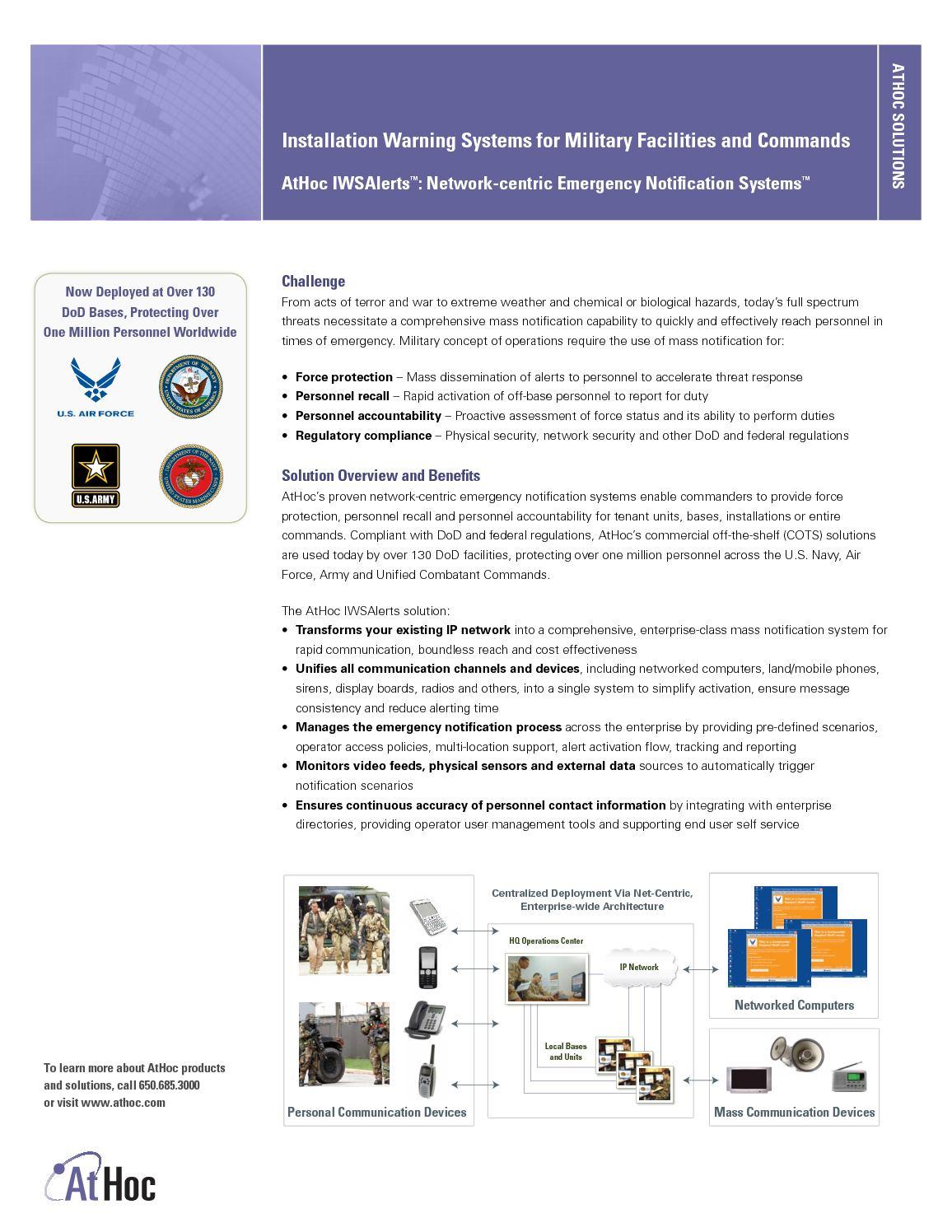Calamo Department Of Defense Data Sheet From Athoc