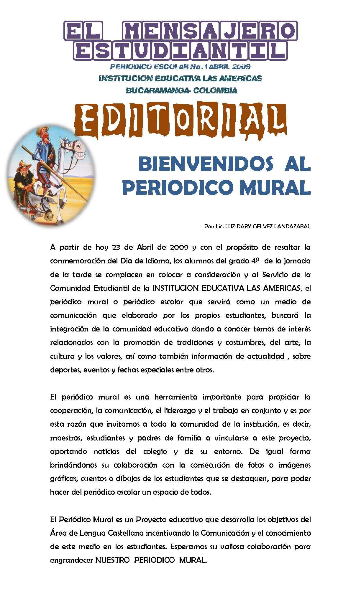 Ejemplo de editorial de un periodico mural escolar peri for El periodico mural wikipedia