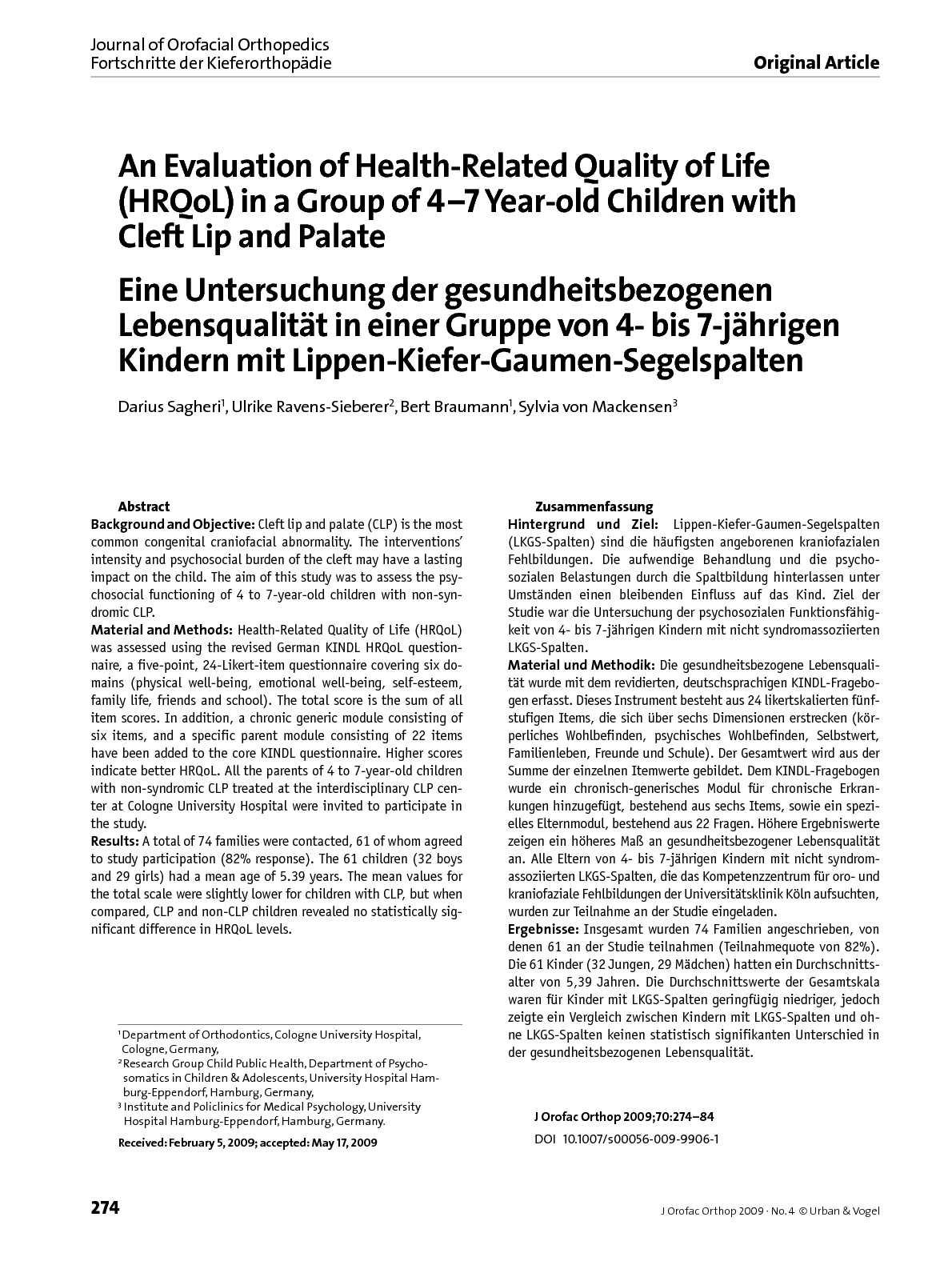 calamo journal of orofacial orthopedics fortschritte der kieferorthopdie vol 70 num 4 jul 2009 - Einverstandniserklarung Fotos Kindergarten Muster