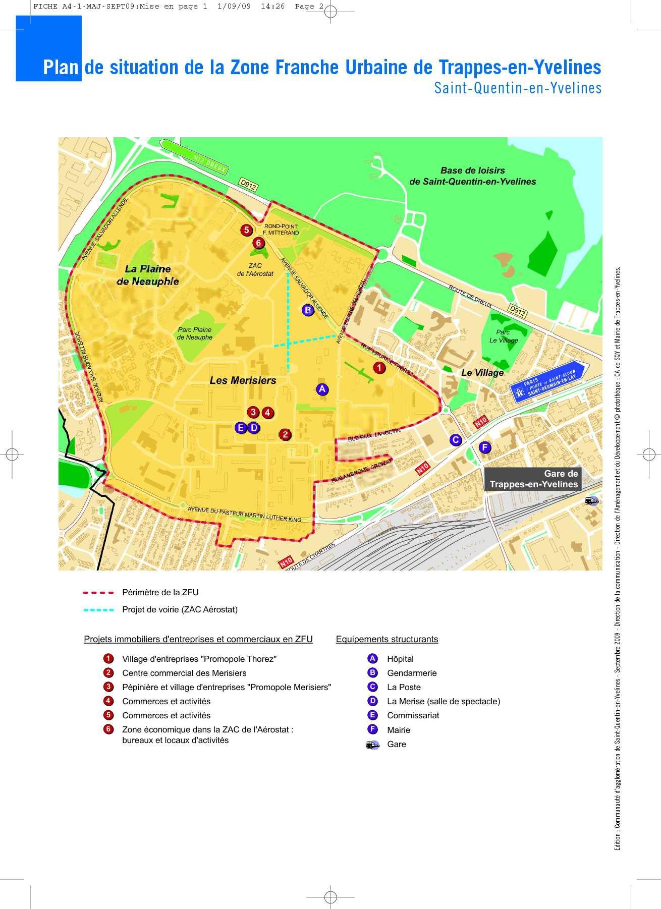 Calam o carte d 39 implantation de la zfu de trappes sqy for Parc de loisirs yvelines