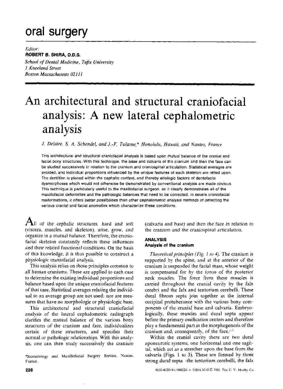 calam eacute o an architectural and structural craniofacial analysis a calameacuteo an architectural and structural craniofacial analysis a new lateral cephalometric analysis j delaire
