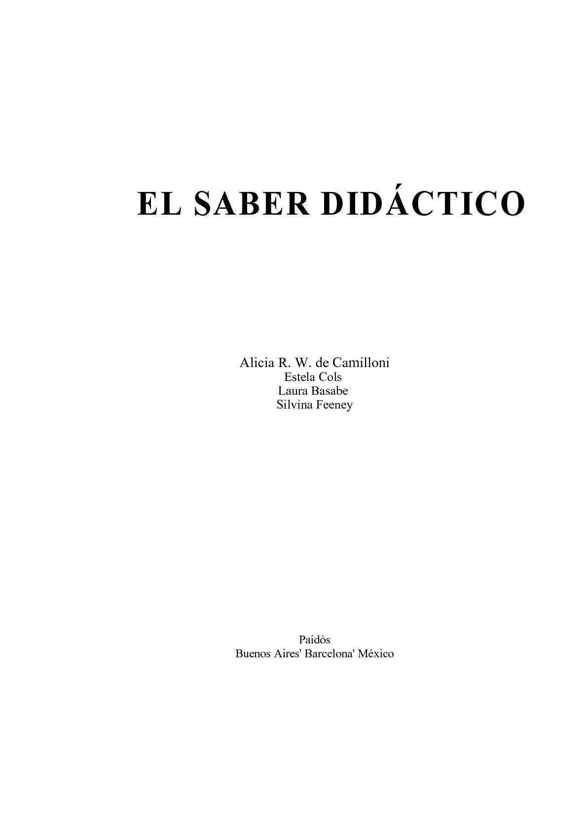 El Saber Didáctico - Cap. I y II