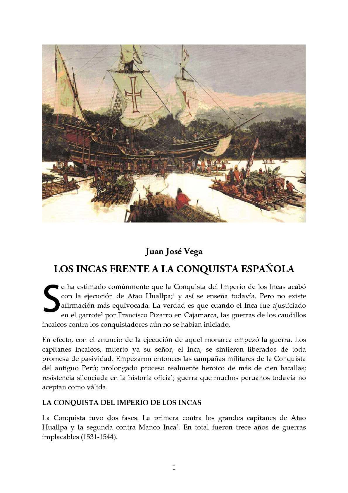 LOS INCAS FRENTE A LA CONQUISTA ESPAÑOLA