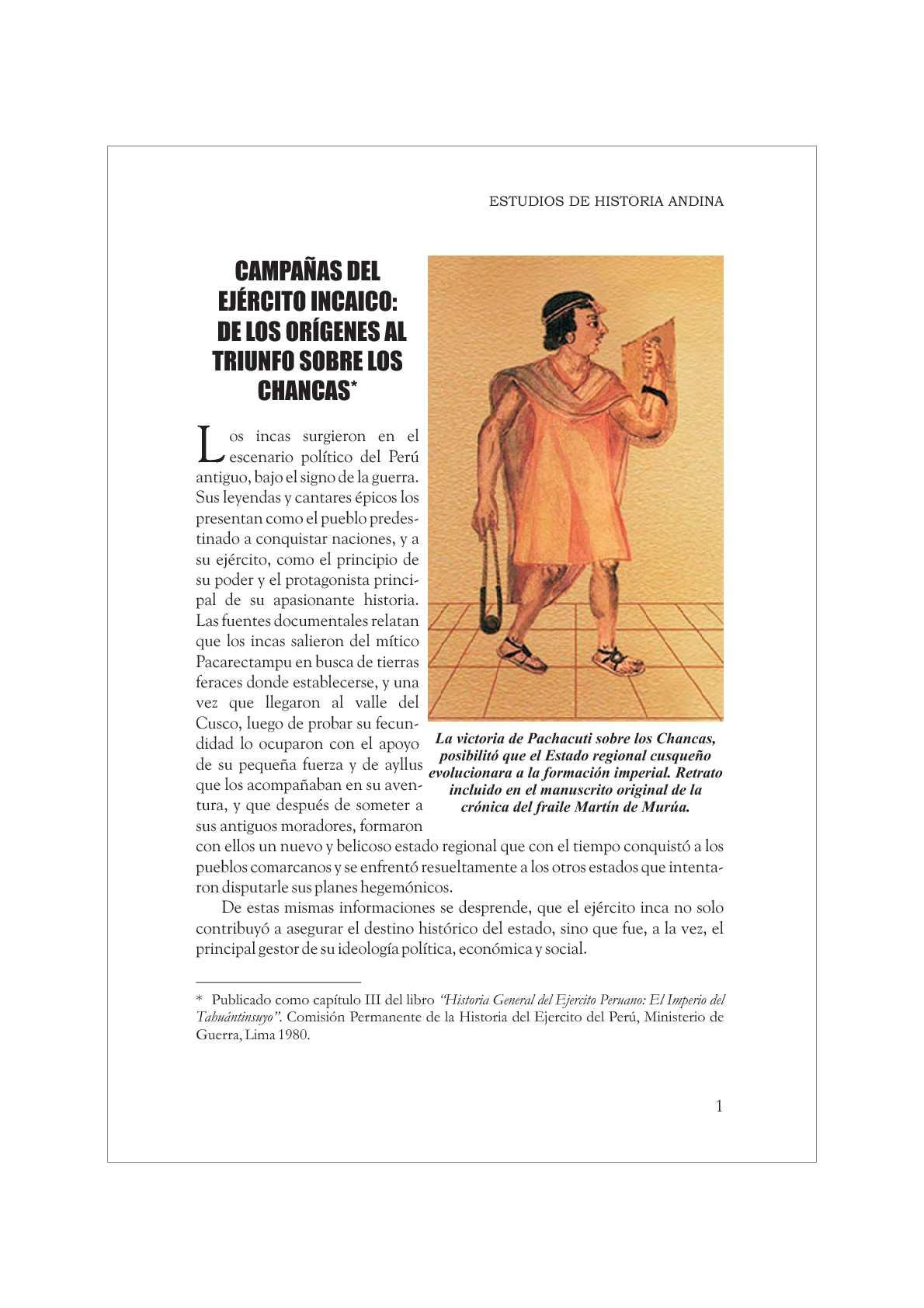 CAMPAÑAS DEL EJERCITO INKA: DE LOS ORIGENES AL TRIUNFO SOBRE LOS CHANKAS