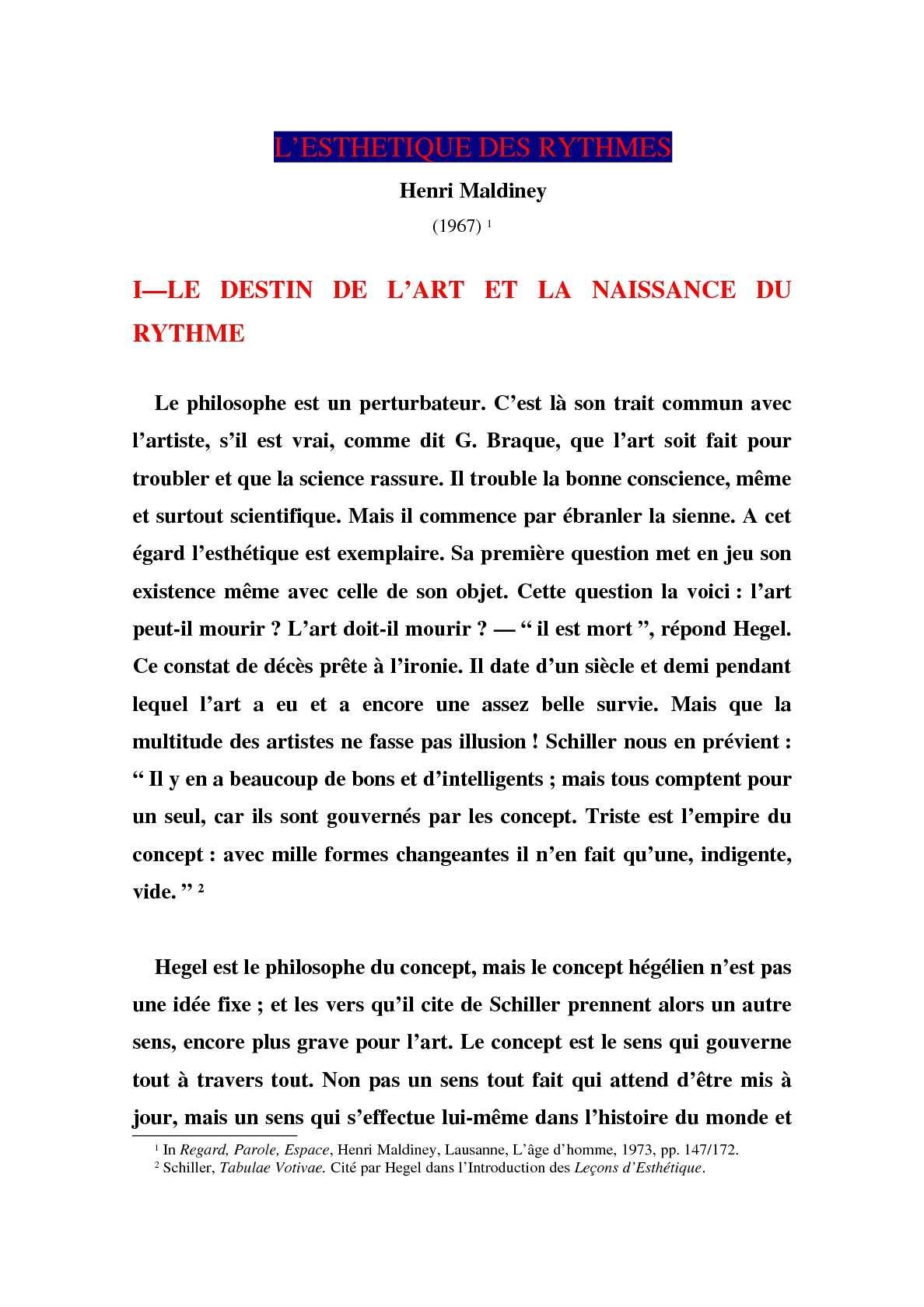L'esthétique des rythmes - Henri Maldiney