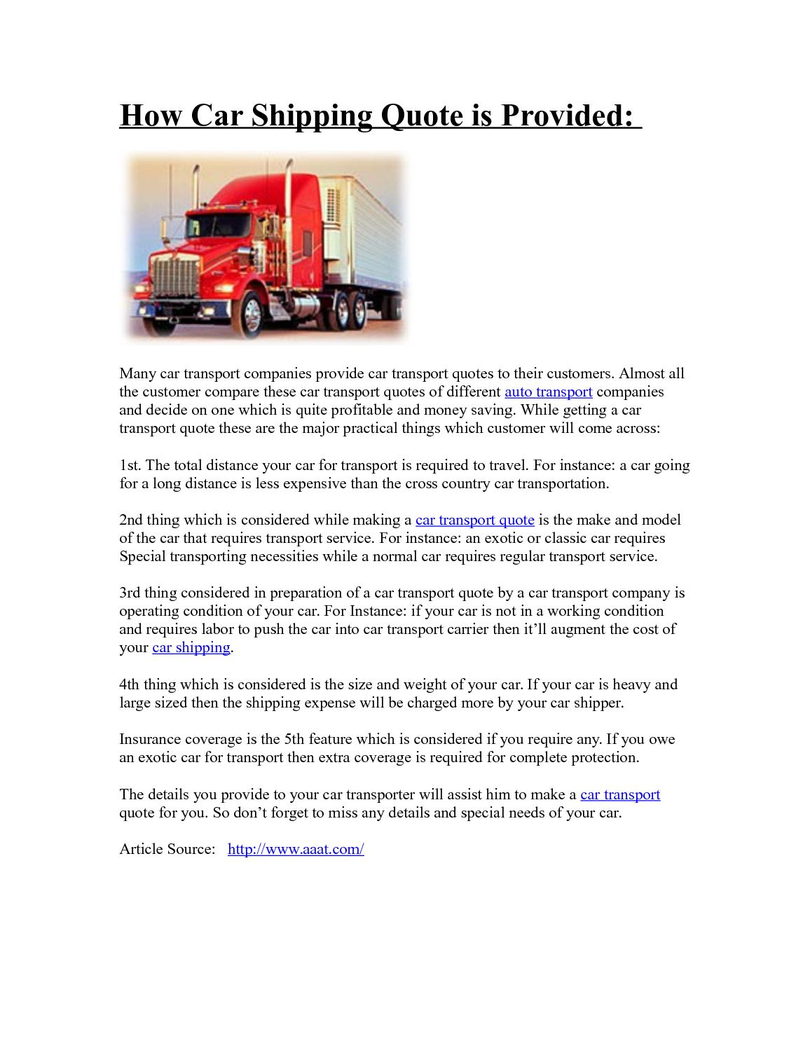 Auto Transport Quotes | Calameo How Car Shipping Quote Is Provided