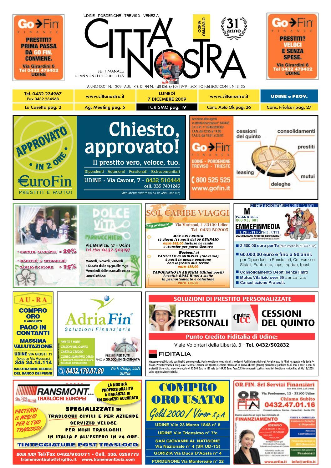 Calaméo Citt Nostra Udine Del 07 12 2009 N 1209