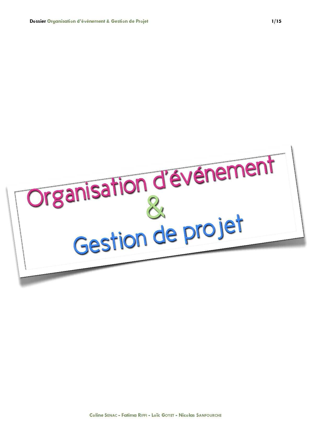 Organisation d'événement & gestion de projet