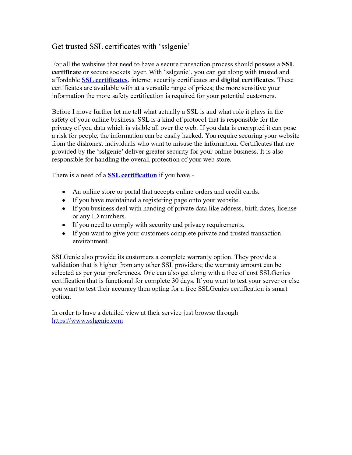 Calamo Get Trusted Ssl Certificates With Sslgenie