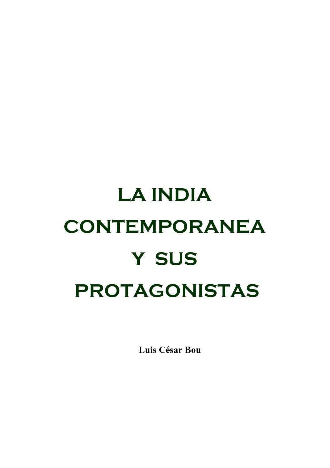 Calaméo - Luis César Bou. LA INDIA CONTEMPORANEA Y SUS PROTAGONISTAS