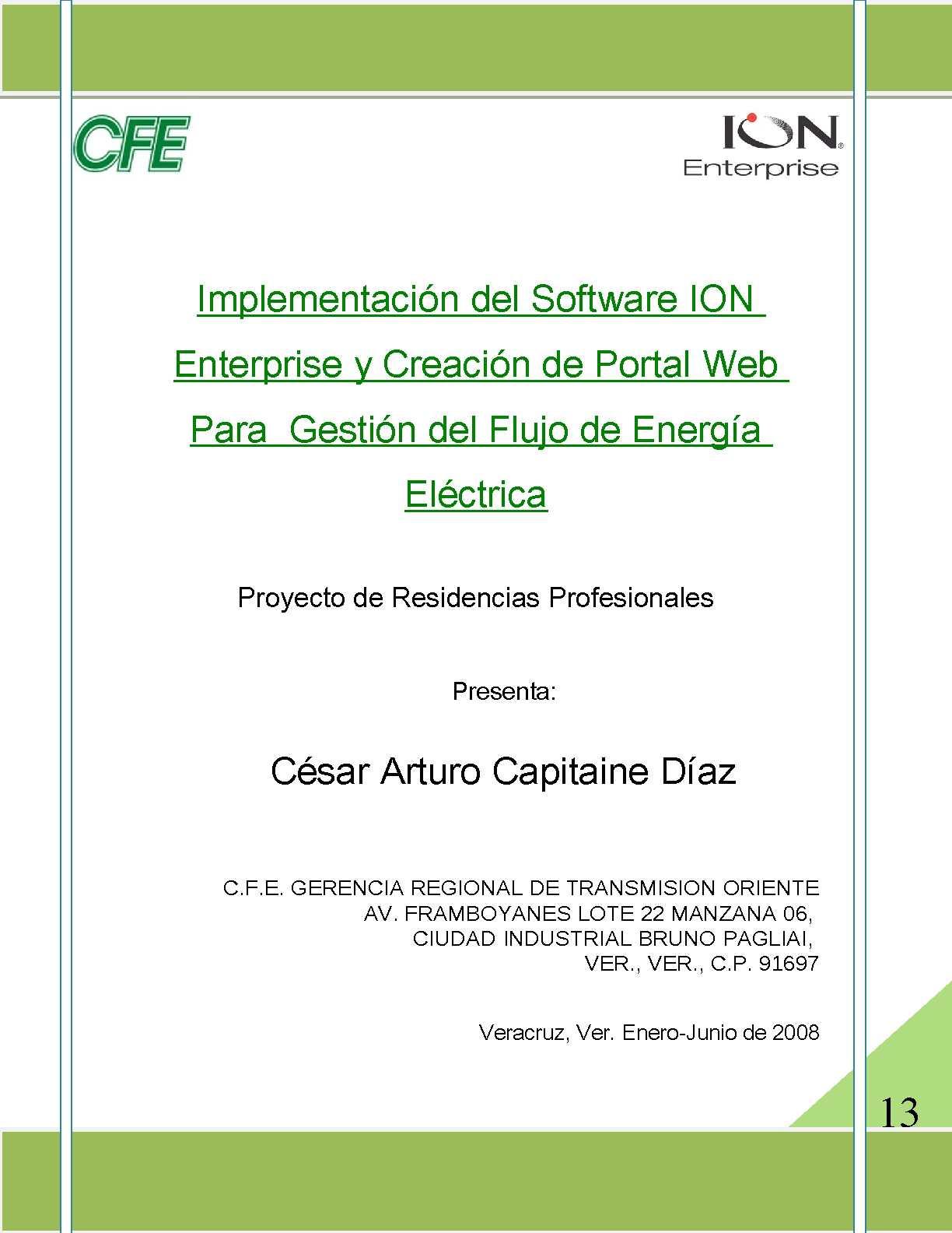Implementación del Software ION Enterprise y Creación de Portal Web para Gestión de Flujo de Energia Eléctrica