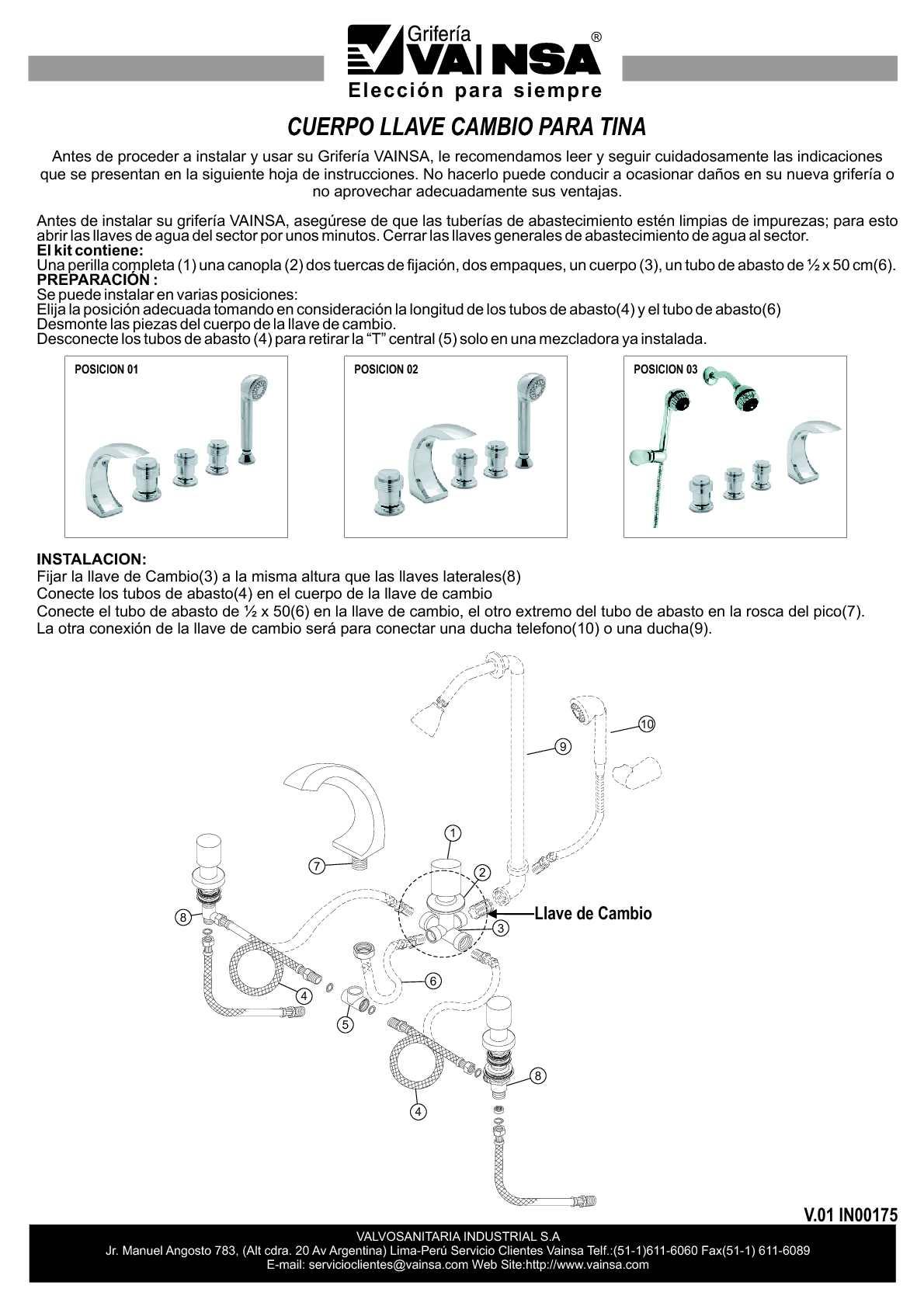 Calam o vainsa cuerpo llave cambio para tina in00175 for Como poner una llave de regadera