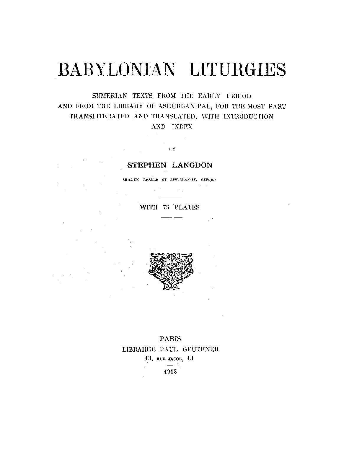Calameo Babylonian Liturgies Sumerian Texts From The Early Period