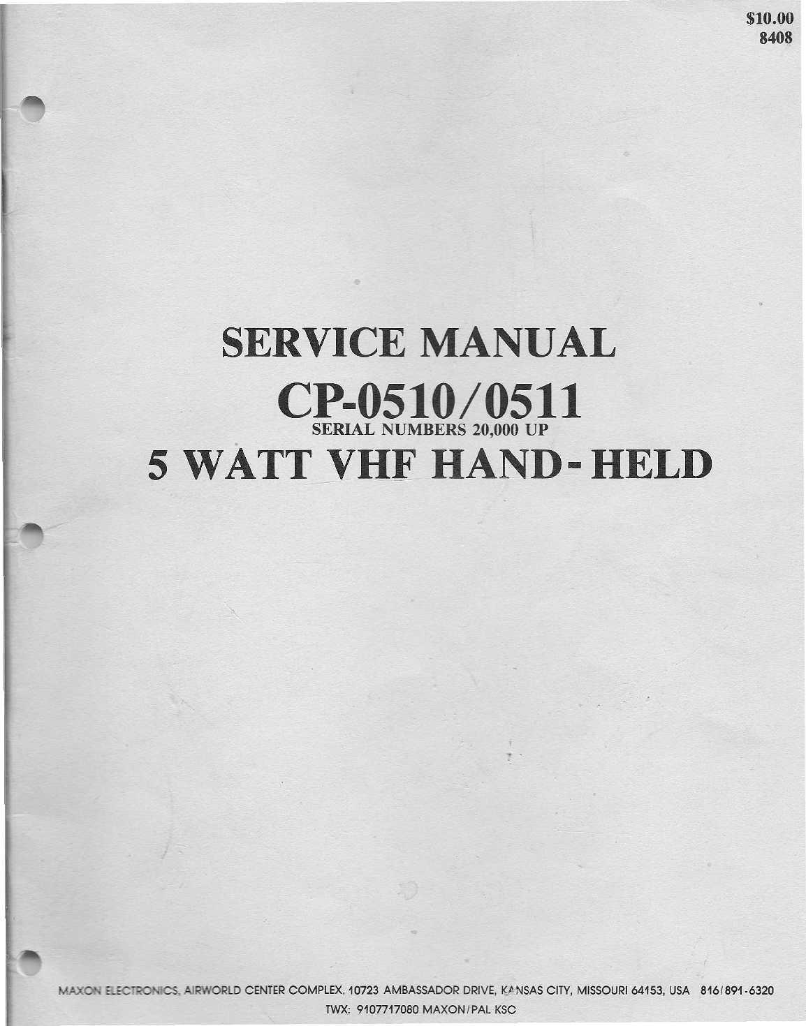 calaméo cp 0510 0511 5 watt vhf handheld service manual