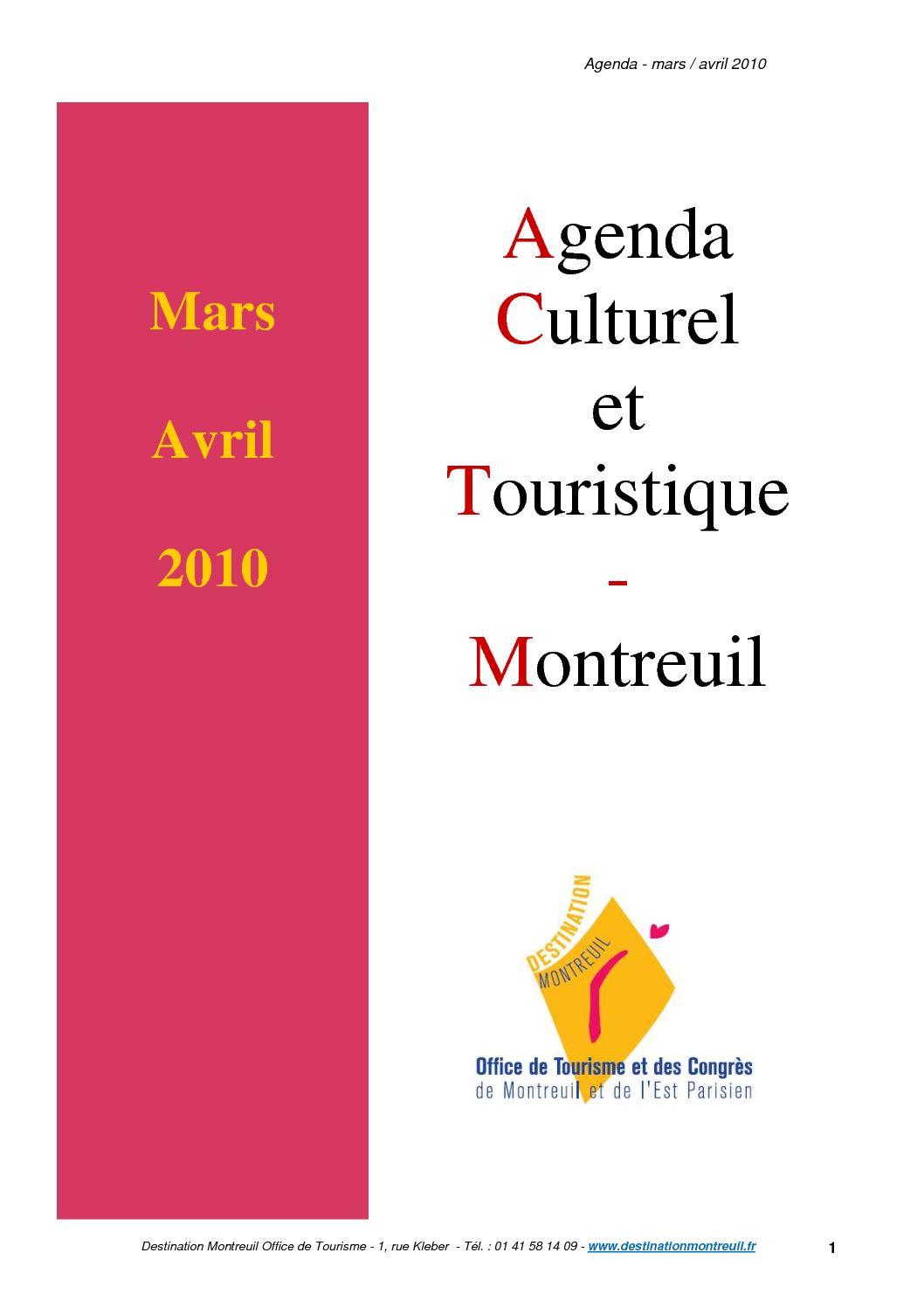 Calam o agenda culturel et touristique de montreuil mars avril 2010 - Office de tourisme montreuil ...