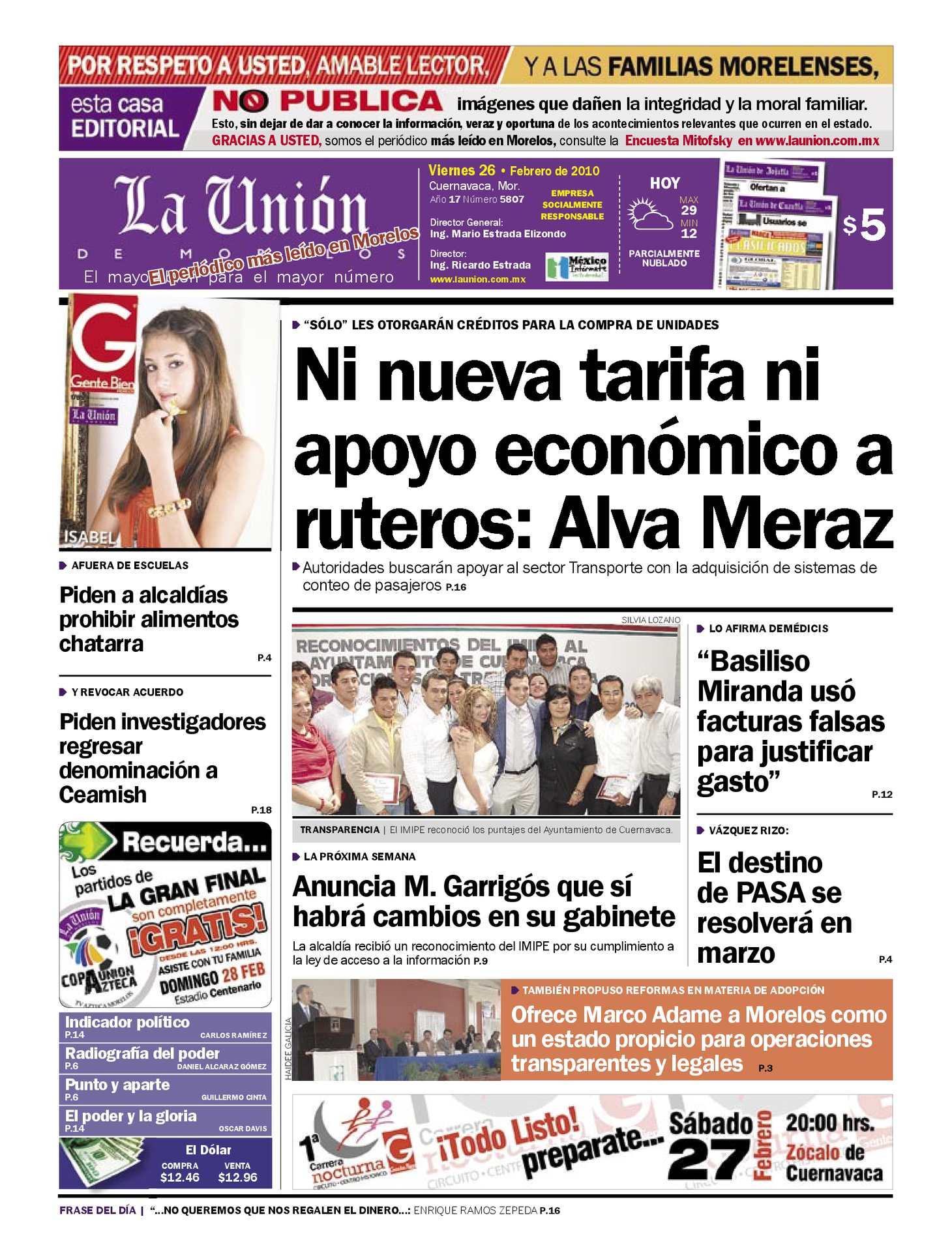 c074eb29f1c4 Calaméo - La Unión de Morelos 26 Febrero 2010