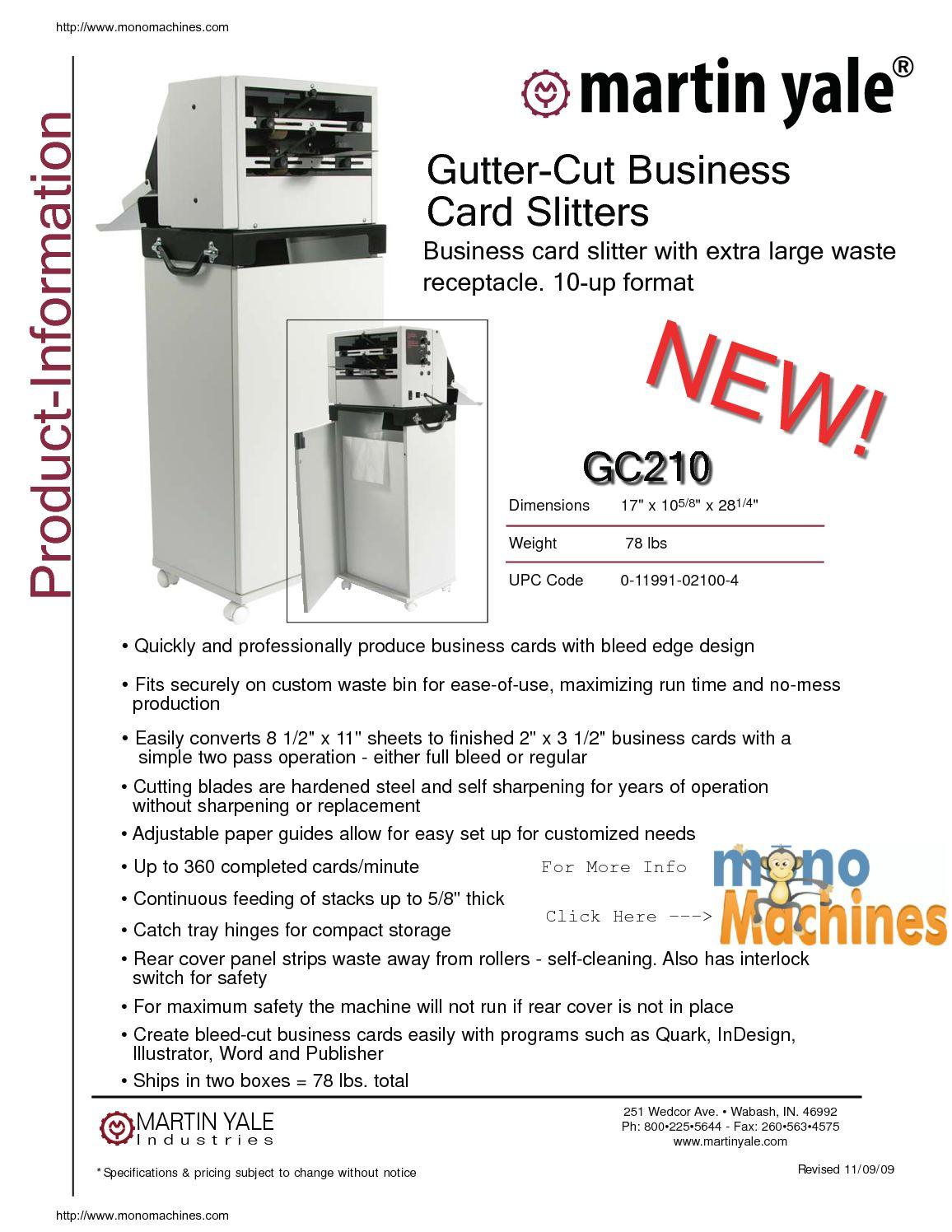 Calaméo - Martin Yale gc210 10 up Gutter Cut Slitter Specs