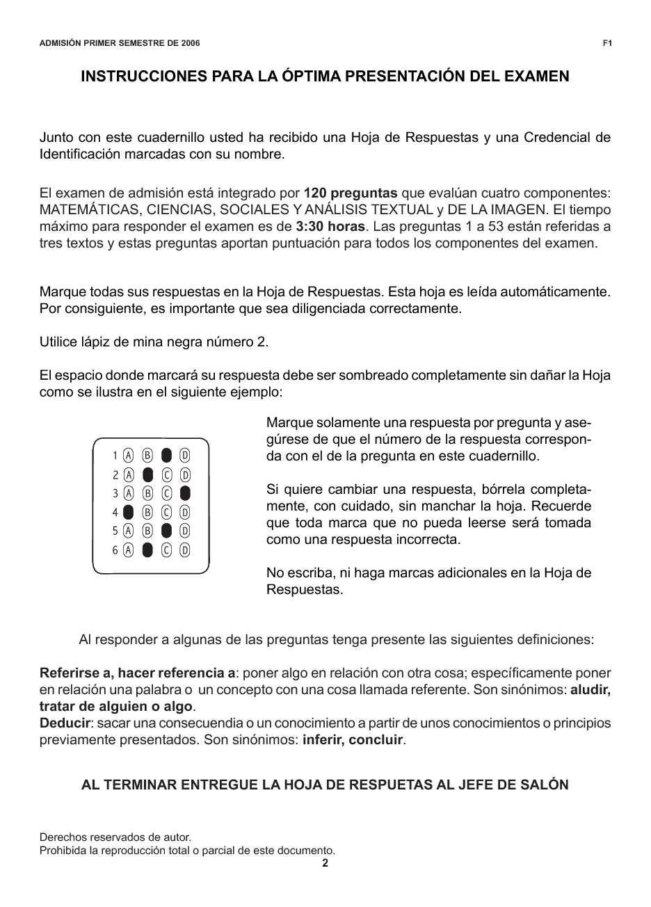 Calaméo - EXAMEN DE ADMISION UNIVERSIDAD NACIONAL 2006 PRIMER SEMESTRE