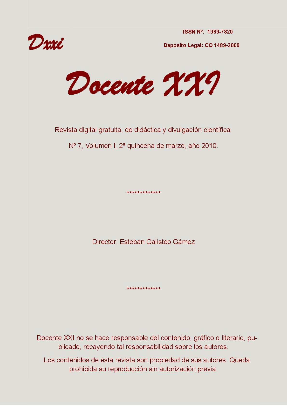 Calaméo - Docente XXI, Nº7, segunda quincena de marzo de 2010