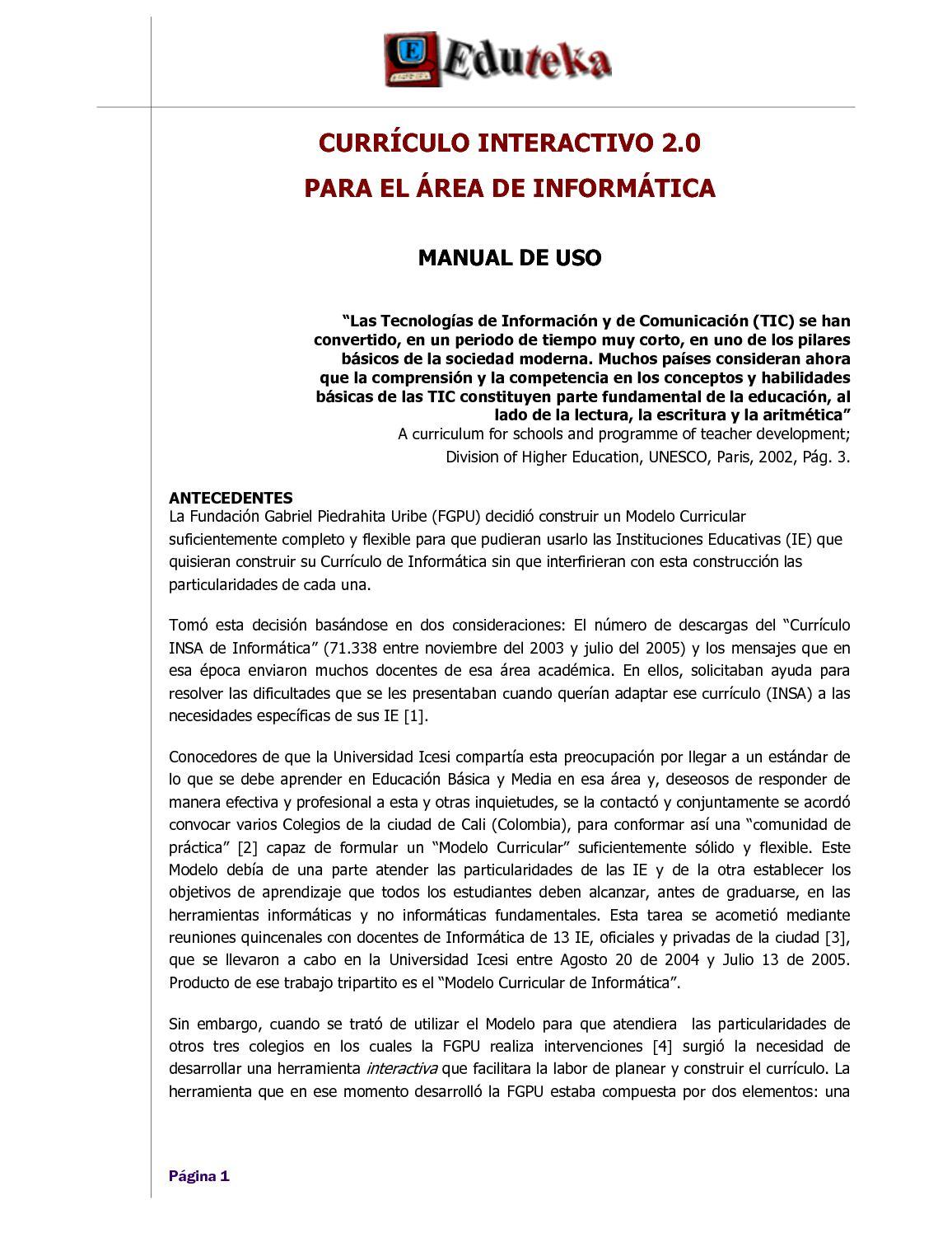 Calaméo - Manual del Currículo Interactivo 2.0