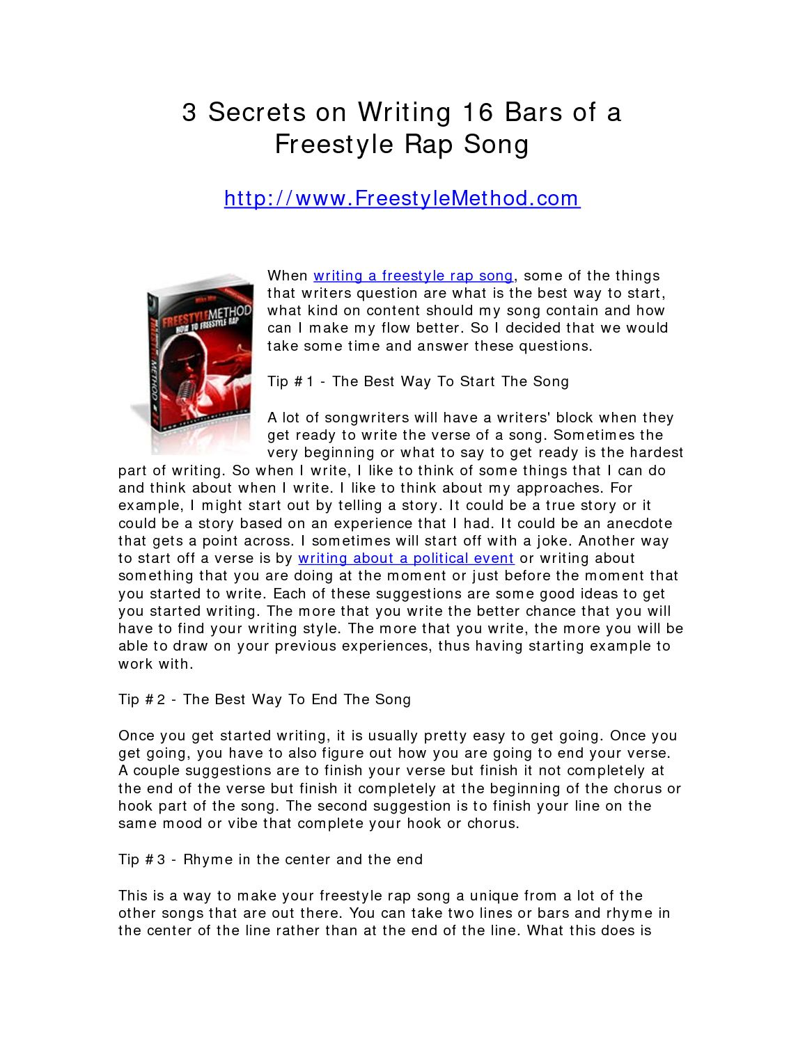 calaméo 3 secrets on writing 16 bars of a freestyle rap song