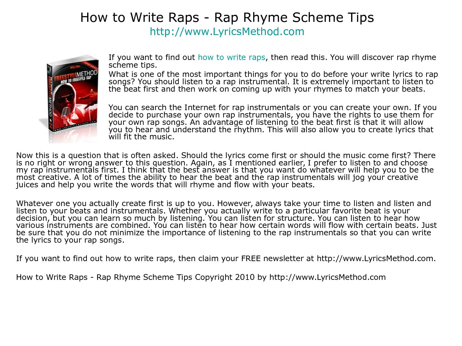 How to Write Rap Rhymes forecasting
