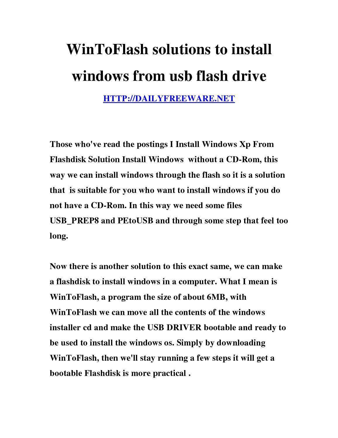 wintoflash windows xp usb