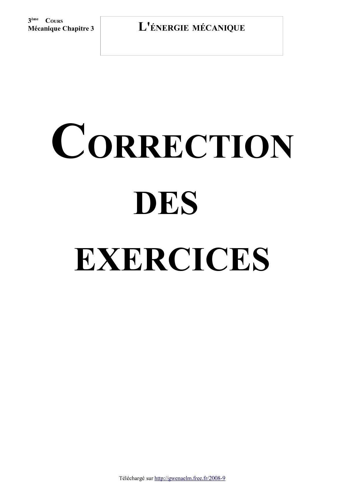 L'énergie mécanique (Correction des exercices - Version 2009)