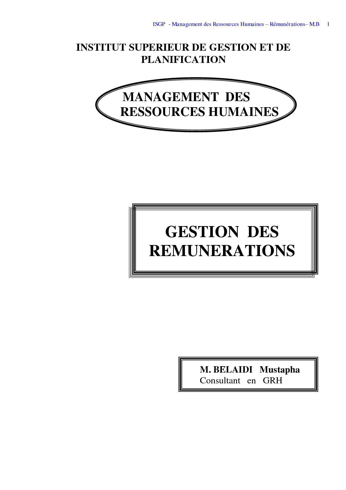 Calameo Gestion Des Remuneration Belaidi Isgp Algerie