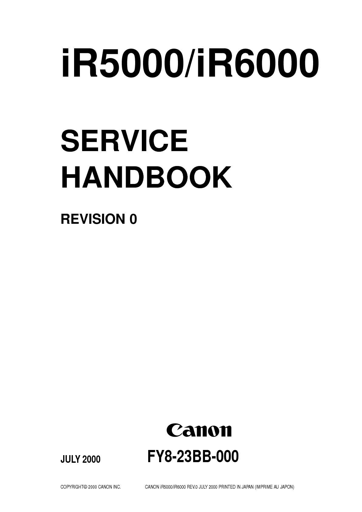 Calamo Imagerunner Ir5000 Ir6000 Service Handbook Dvc 2000 Positioner Wiring Diagram