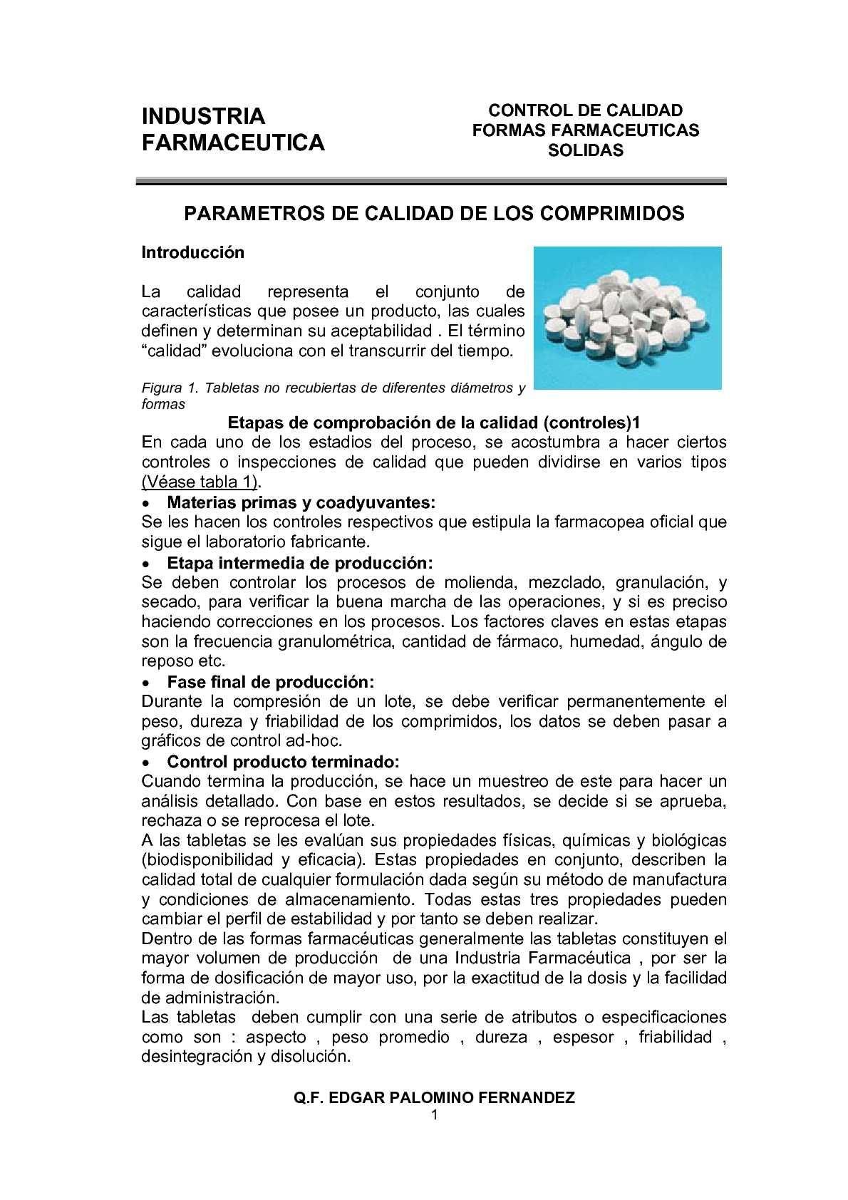 Clase 06 - Control de Calidad de Tabletas