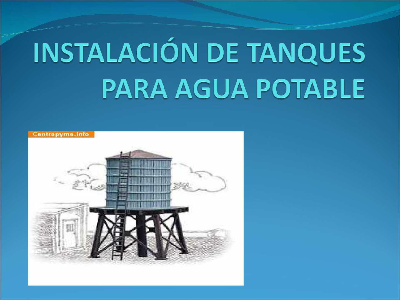 Calam o instalaci n de tanques de agua potable for Estanques para almacenar agua potable