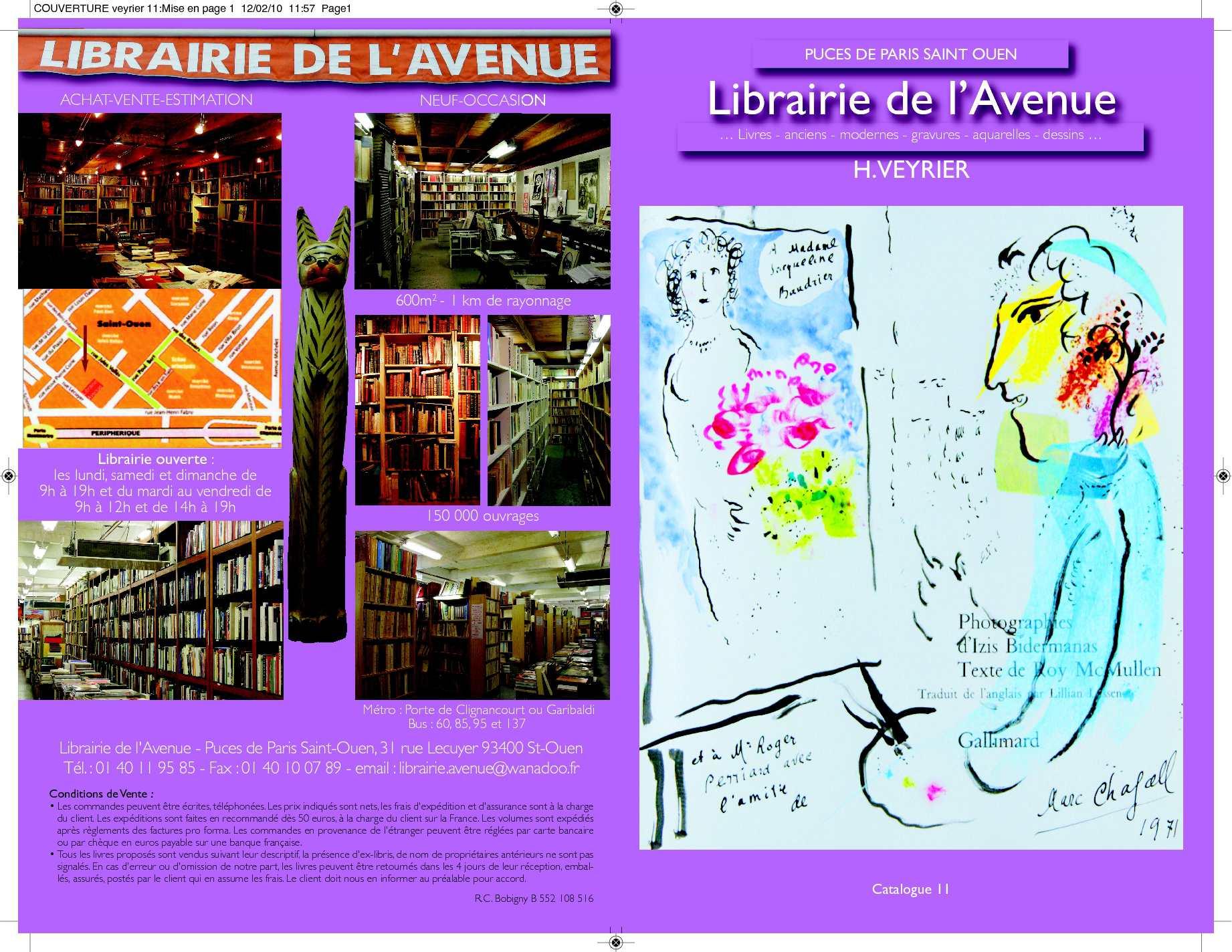 Calam o catalogue n 11 librairie de l 39 avenue - 30 avenue de la porte de clignancourt ...