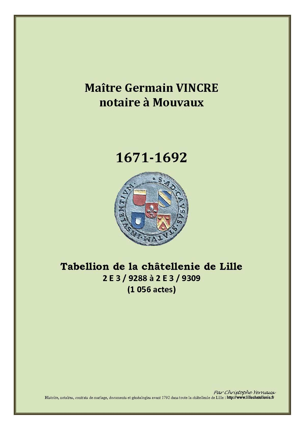 NOTARIAT - Vincre G. 1671-1692 Mouvaux