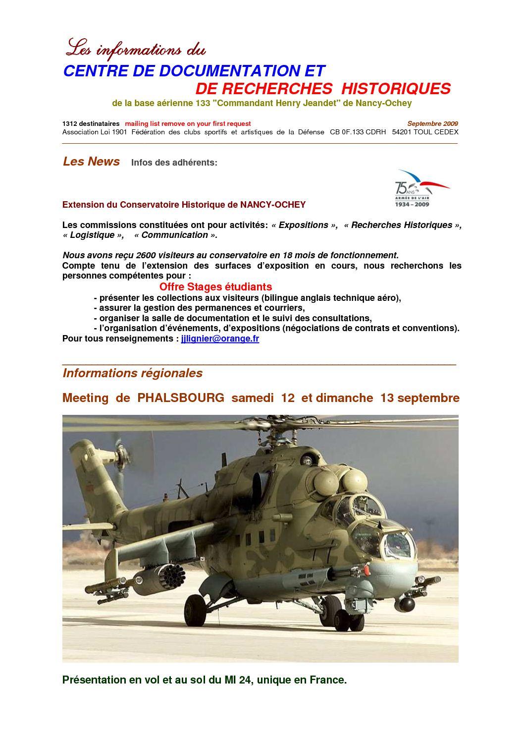8 - Lettre N°8 infos aéronautiques du CDRH NANCY-OCHEY Septembre 2009