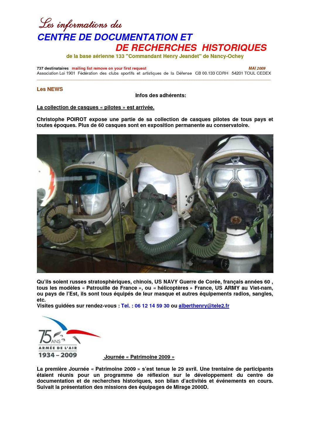 5 - Lettre N°5 infos aéronautiques du CDRH NANCY-OCHEY Mai 2009