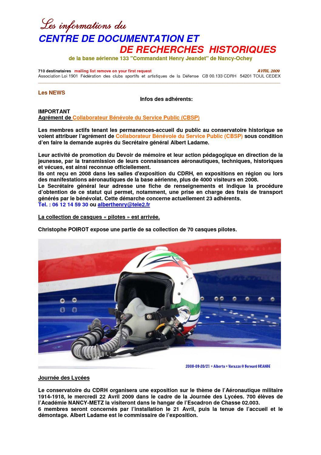 4 - Lettre N°4 infos aéronautiques du CDRH NANCY-OCHEY Avril 2009
