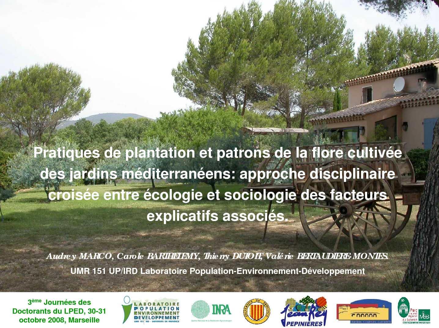 Calam o pratiques de plantation et patrons de la flore for Jardin et plantation