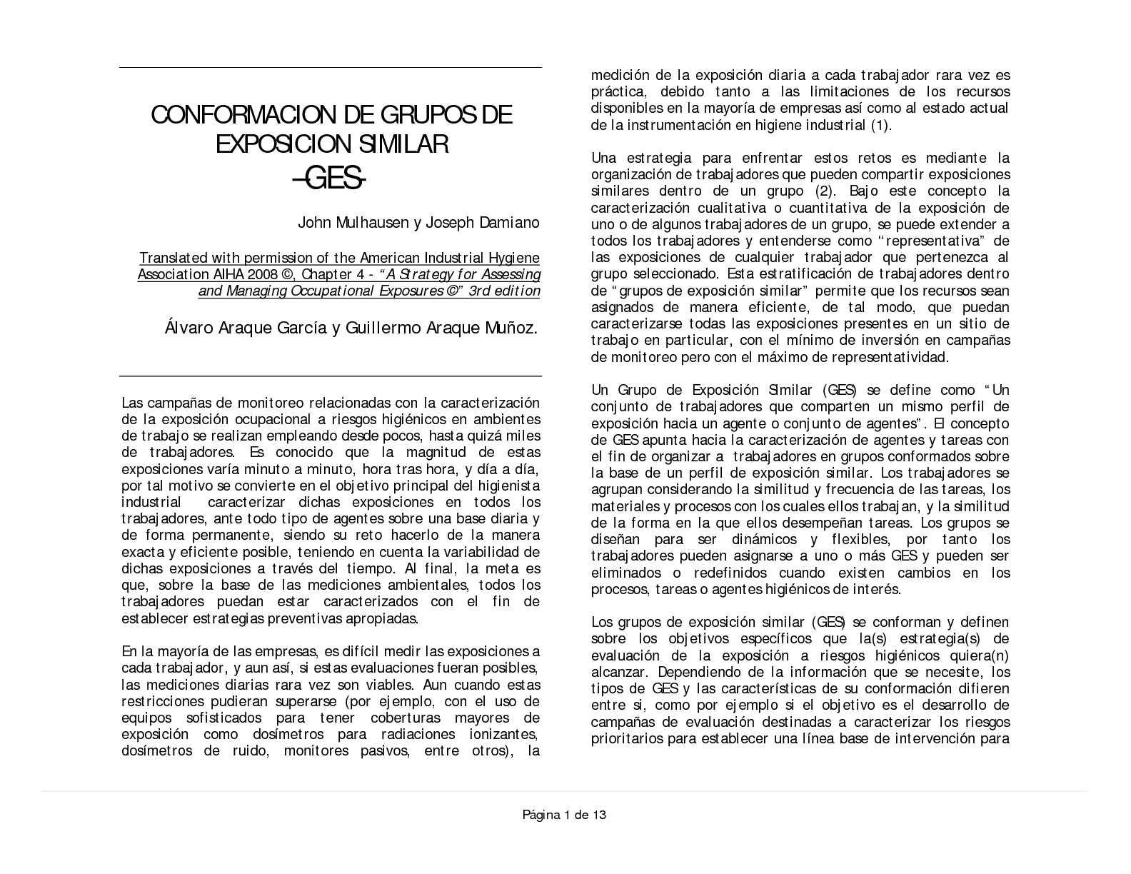 CONFORMACION DE GRUPOS DE EXPOSICION SIMILAR –GES